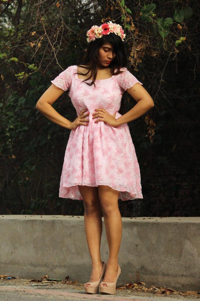 Shrizan Pink Dress Looking Down