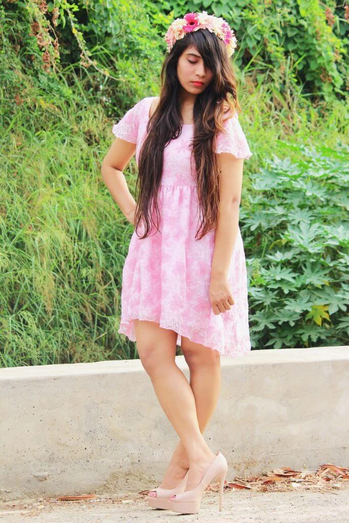Shrizan Pink Dress Standing Looking Down