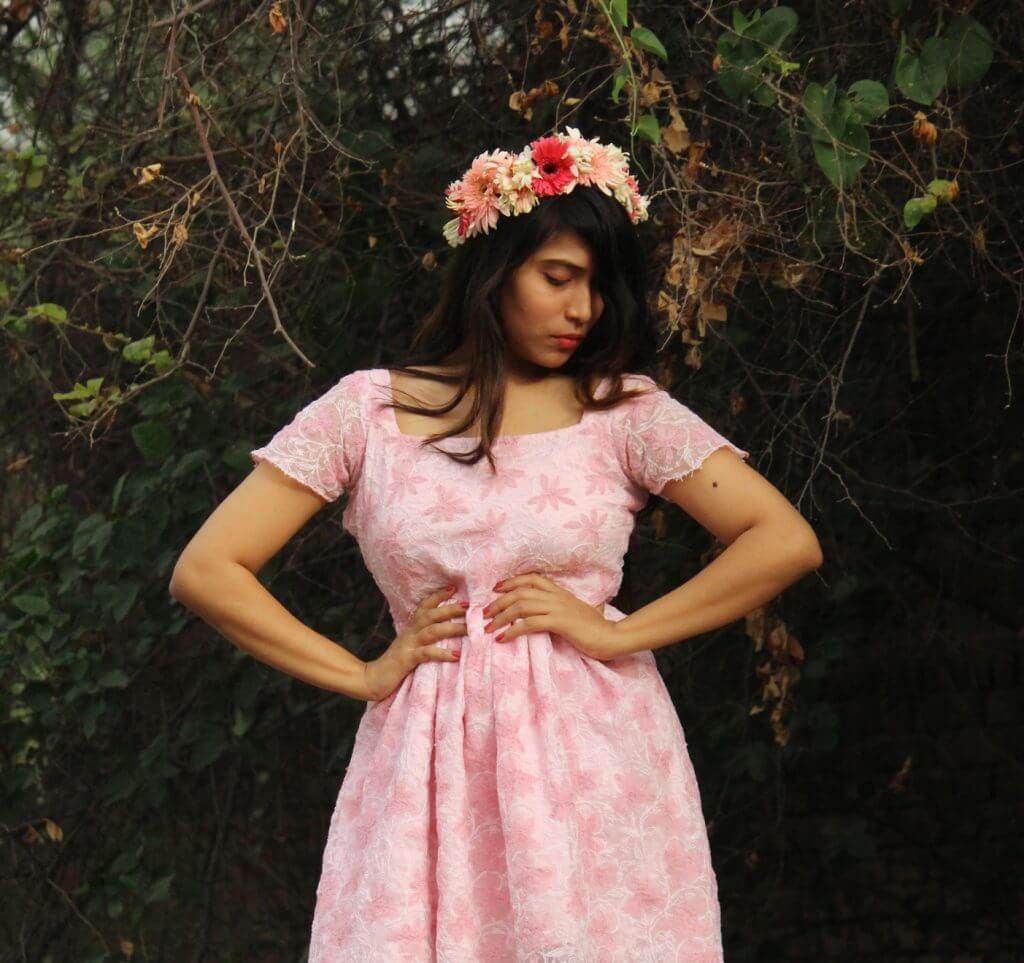 Shrizan Standing In Pink Dress