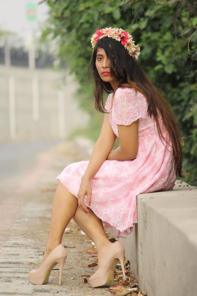 Shrizan Sitting In Pink Dress Side Picture Flower Bun In Hairs