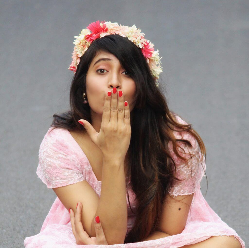 Shrizan Sitting In Pink Outfit