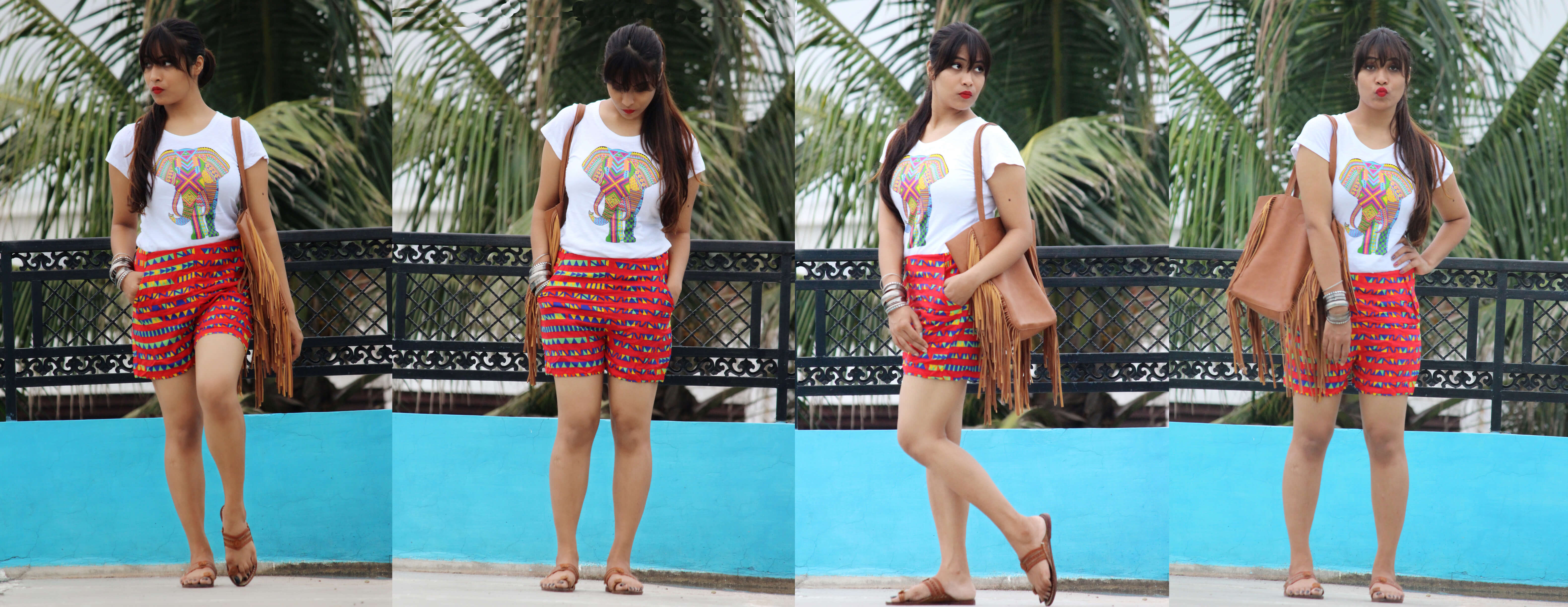 Ethnic Street Look-Styling Ethnicity With TEE & Shorts in Modern Way-The Shorts Series