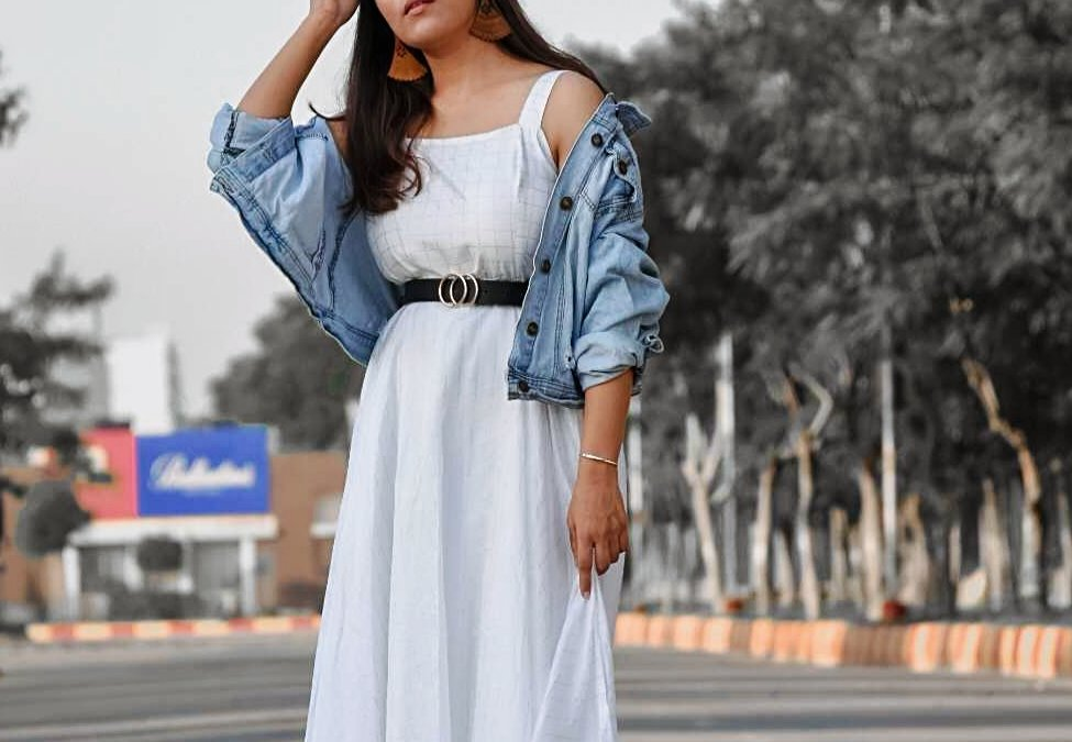 Styling Denim Jacket With White Maxi Dress-Autumn Special